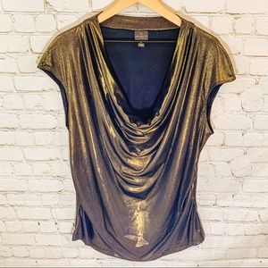 3X Worthington Black/Gold sparkle drape blouse